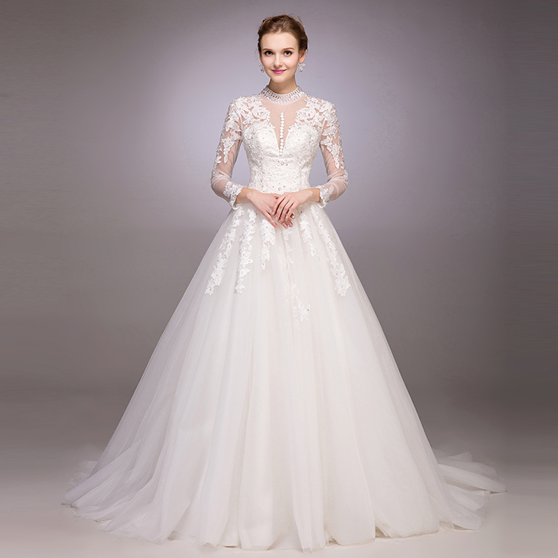 New Arrival Ball Gown Long Sleeve Lace Wedding Dress Appliques Beading Bridal Gowns 2015 High Neck Button See Through Vestidos