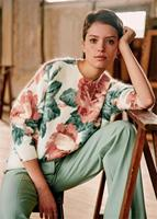 2020 Spring Vintage Large Peony Floral Flower Color Printed Mohair Printed High Qulity Women Sweater