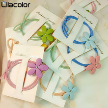 5 PCS Women Flower Hair Rope Rubber Band Ring Set Leather Cover Head Korean Small Fresh and Simple Personality Lovely