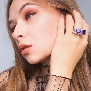 Image 2 - DreamCarnival1989 Purple Zircon Rings for Women Wedding Must Have 2019 Jewelry Owl Big Eyes Design Two Tones Color WA11754
