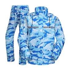 Blau Regenmantel und Regen Hosen Männer Camouflage Regenjas Regen Tragen Transparent Krempe Motorrad Regen Jacke Frauen Männer Regen Mantel