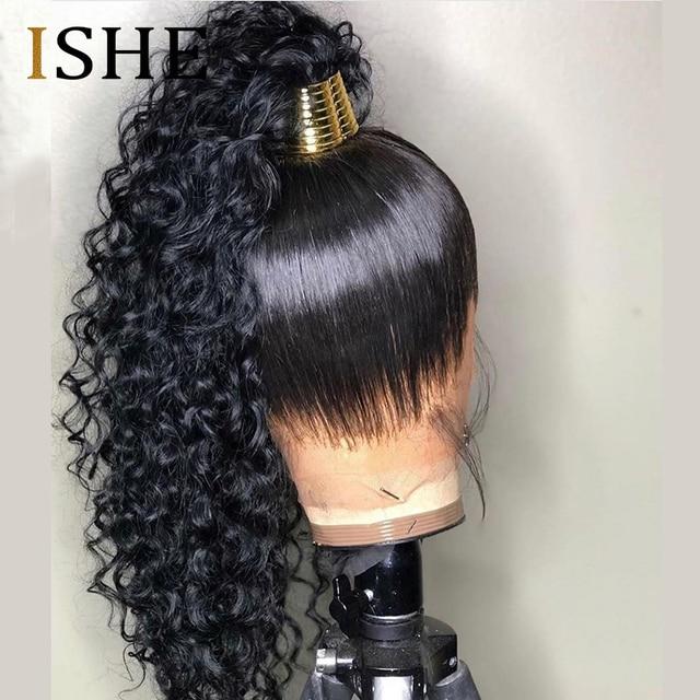 HD przejrzyste niewidzialna koronka peruka 360 czołowa koronki ludzkich włosów peruki kręcone długo Preplucked bielone węzłów naturalne peruwiański Remy