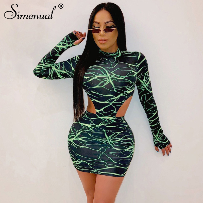 Simenual Sexy Skinny Fashion Women Matching Sets Long Sleeve With Gloves Party 2 Piece Outfits Hot Print Bodysuit And Skirt Set
