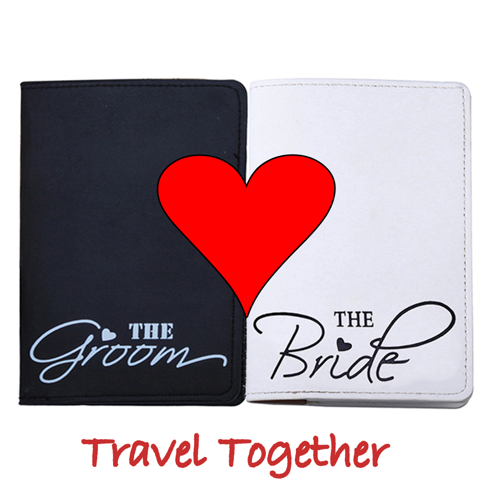 Marry Honeymoon Travel Bride Groom Letter Passport Cover For Travel Card Case Cash Holder Travel ID Card Passport Holder CH11B