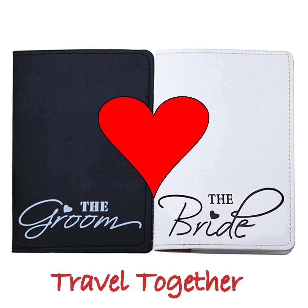 Marry Honeymoon Travel Bride Groom Letter Passport Cover For Travel Card Case Cash Holder Travel ID Card Passport Holder CH11B