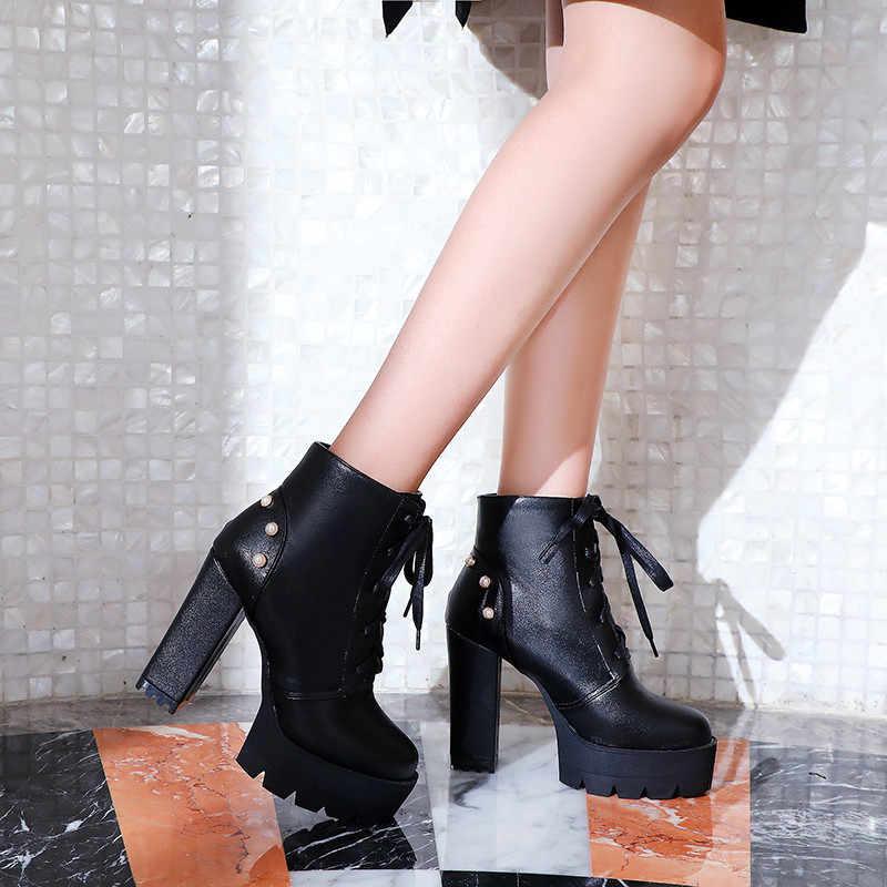 Odetina ใหม่ผู้หญิง Lace Up Block รองเท้าส้นสูงข้อเท้ารองเท้า Rivets Heel รอบ Toe Studded Elegant ฤดูหนาวขนาดใหญ่