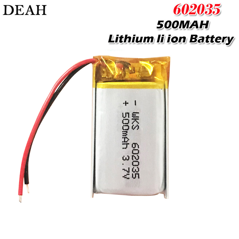 3.7V 500mAh​ 602035 Lithium li ion polymer Rechargeable Battery 602035 For DVR tachograph automotive bluetooth headphone Battery(China)