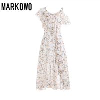 MARKOWO Designer Brand 2020 spring and summer new female super fairy small fresh floral lotus leaf mid length dress