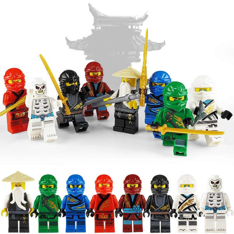 Mini ninja com arma figuras de ação blocos de construção crianças brinquedo presente compatível legoingly ninjagoed brinquedos educativos para crianças