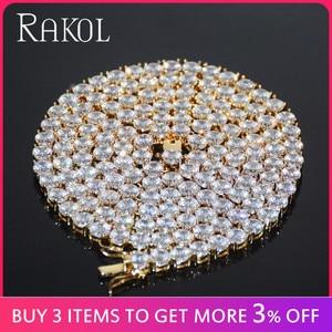 Image 2 - RAKOL collana con catena da Tennis in zirconi cubici di lusso Hiphop gioielli di alta qualità con chiusura a scatola CZ per donna uomo 3mm 4mm 5mm rotondo