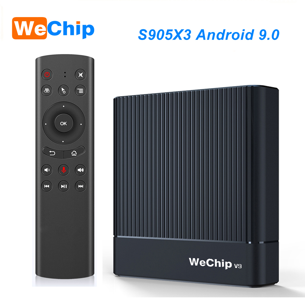 Original Wechip V9 Android 9.0 TV BOX Amlogic S905X3 DDR3 4GB RMB 2.4G/5G Wifi Bluetooth 4.0 Set Top Box YouTube 1080P HD Player