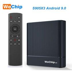 Original Wechip V9 Android 9.0 TV BOX Amlogic S905X3 DDR3 4GB RMB 2.4G/5G Wifi Bluetooth 4.0 Set Top Box YouTube 1080P HD Player