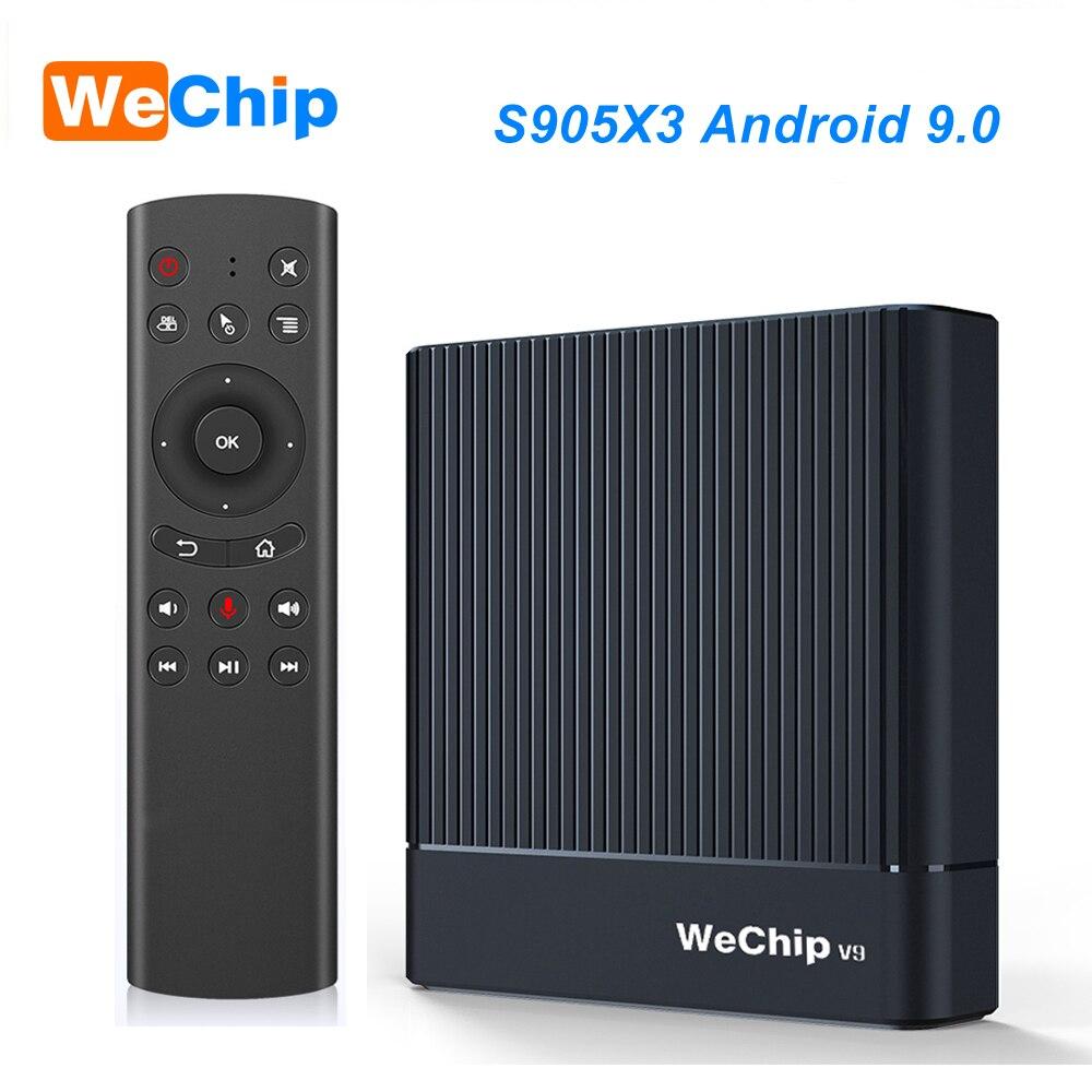 Original wechip v9 android 9.0 caixa de tv amlogic s905x3 ddr3 4 gb rmb 2.4g/5g wifi bluetooth 4.0 conjunto caixa superior youtube 1080 p hd jogador