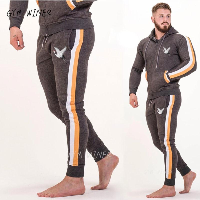 2019 NEW Gyms Zipper Men Sets Sportswear Tracksuits Sets Men's Hoodies+Pants Running Suits Men's Sports Suits Plus Size S-3XL