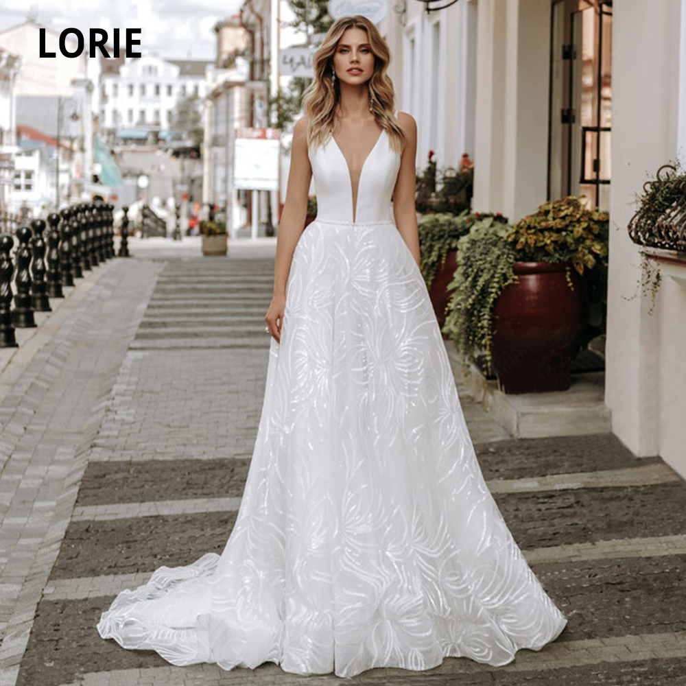 LORIE Lace Wedding Dresses Boho 2019 V-neck Sleeveless Open Back Beach Satin Bridal Gowns Custom Made Sweep Train Plus Size