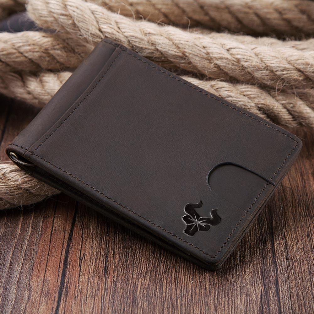 100% de cuero genuino de los hombres de la tarjeta de crédito de cartera RFID bloqueo cartera dinero Clip diseño Simple de los nuevos hombres Bifold carteras gran oferta