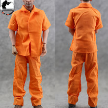 "1/6 Scale Orange Prison Uniform Shirt+Pants Clothes Suit Short Sleeve Fit 12"" 1:6 Action Figure Model Male 1/6 Scale Toys(China)"