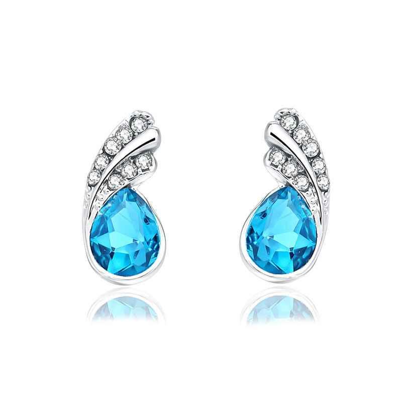 Delle donne 100% Multa 925 sterling silver trasparente classic orecchini Galleggianti mare blu della sposa regalo Di Natale E071