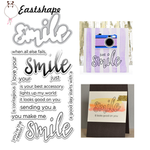 Eastshape Smile Letter Metal Cutting Dies and Clear Stamps Inspirational Word Scrapbooking For Making Card Album Craft Stencil