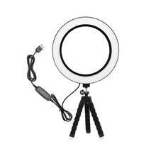 Photography Dimmable LED Selfie Ring Light 3500-5500k Makeup Photo Studio Lamp For Youtube Video Live With USB Plug Tripod Stand yongnuo yn608 led studio selfie ring light 3200 5500k wireless remote video light cri 95 photo lamp with carry bag annular lamp