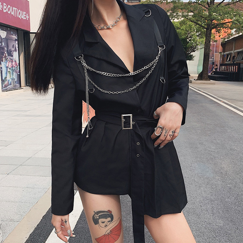 SCK spring Belt decoration Gothic punk tops women coats Patchwork jackets 2020 fashion high street leisure coat mujer