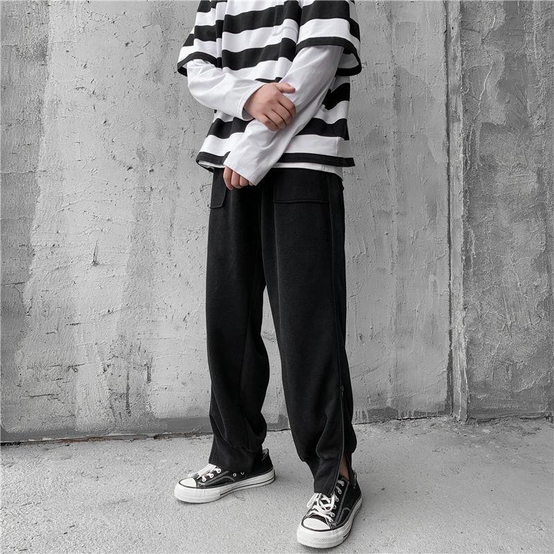 Privathinker Side Zipper Men's Black Sweatpants 2020 Men Oversized Pants Korean Streetwear Man Casual Pants Trousers