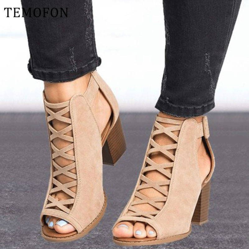 TEMOFON 2020 women square heel Sandals peep toe hollow out chunky gladiator sandals with strap black spring summer shoes HVT791 1