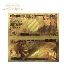 10 pçs/lote cor japão notas cem milhões de ienes notas de ouro em ouro 24k para decorações de casa