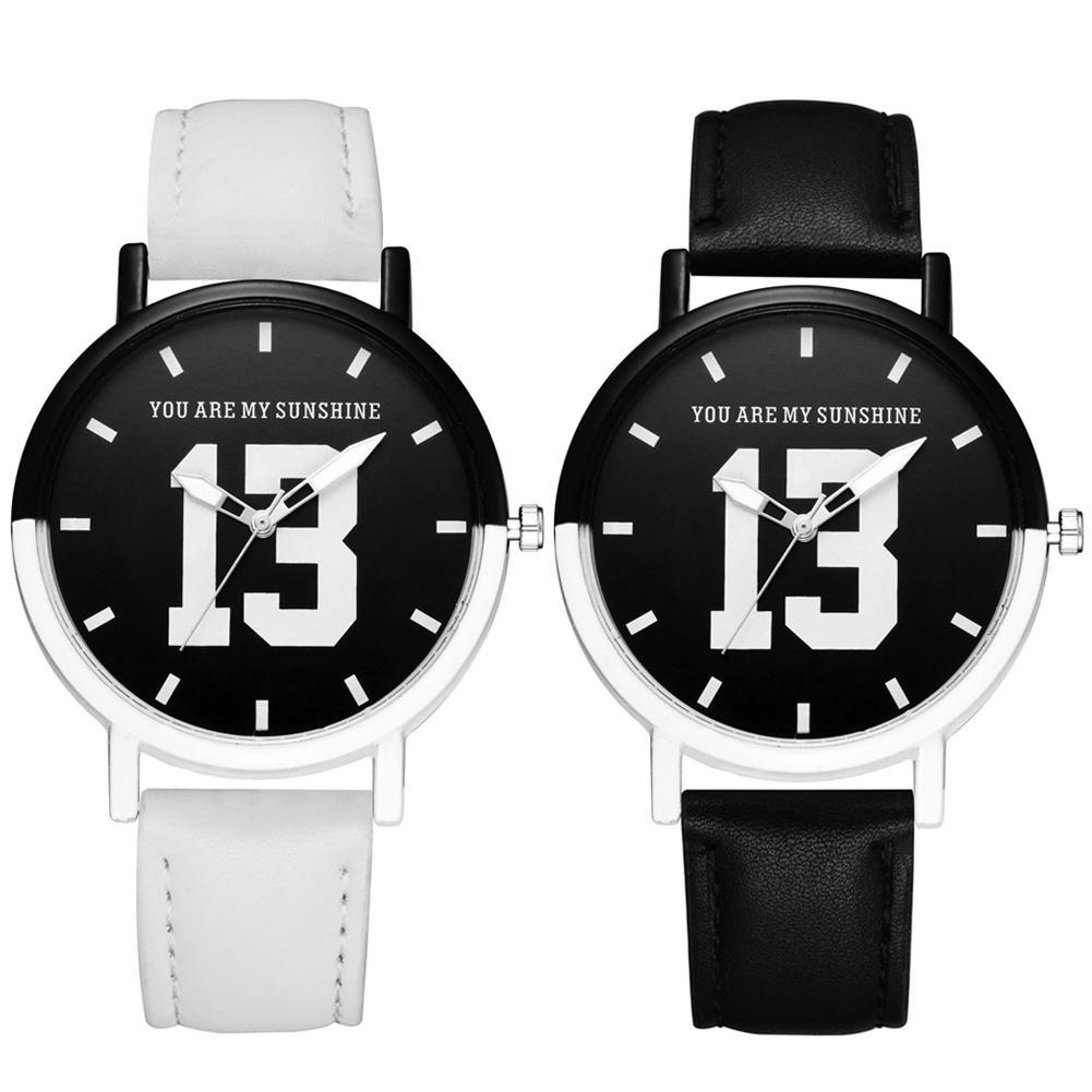 Couple Watch Unisex You Are My Sunshine 13 Round Dial Faux Leather Strap Quartz Wrist Watch Men Women Relógio De Casal