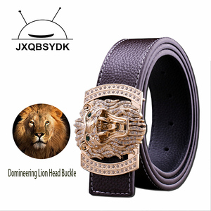 Image 5 - JXQBSYDK Luxury Brand Belts for Men Women Fashion Shiny Diamond Lion Head Buckle High Quality Waist Shaper Leather Belts 2020