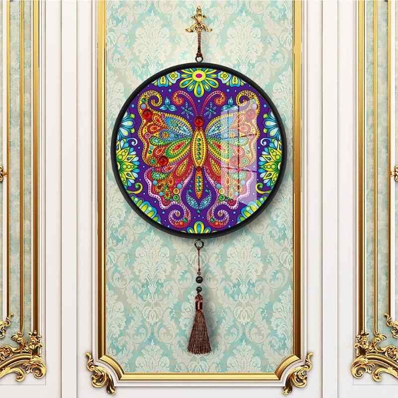 Diy Diamant Schilderen Speciale Vorm Vlinder Uil Hanger Met Kwasten Muurschildering Diamant Borduurwerk Home Decor Gift Handgemaakte Craft