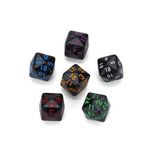 6Pcs dice set dnd party game multi-faceted acrylic dice dados de rpg black colored oil dice polydice dnd dice sets 30A20(China)