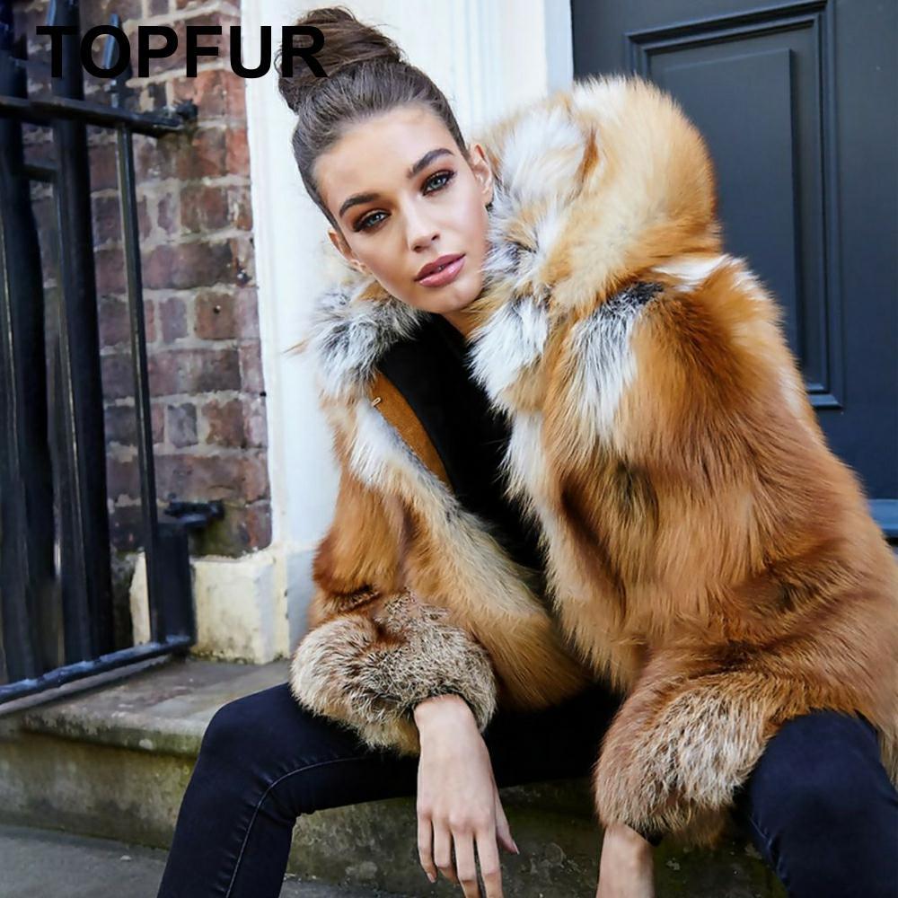 TOPFUR 2019 mode hiver manteau de fourrure femmes réel manteau de fourrure femmes naturel renard rouge manteau de fourrure avec capuche de fourrure pleine manches veste de fourrure de renard