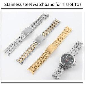 Image 2 - 19mm 20mm aço inoxidável pulseiras de relógio para tissot 1853 t17 t461 t014430 t014410 prc200 pulseira curvada prata ouro ferramentas