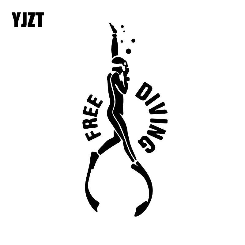 YJZT 17CM*7.5CM Free Diving Adventure Car Decoration Pattern Decals Vinyl Car Stickers Black/Silver C30-0560