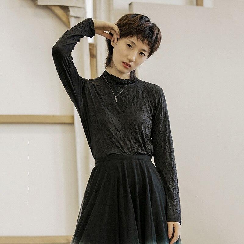 [EAM] Women Fold Split Joint Brief Temperament T-shirt New Stand Collar Long Sleeve  Fashion Tide  Spring Autumn 2020 1H720 2