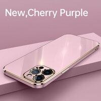 Funda de teléfono de silicona con revestimiento cuadrado para iPhone, cubierta protectora de lente ultrafina de lujo para iPhone 12 11 Pro XS max SE XR 8 7 6 Plus