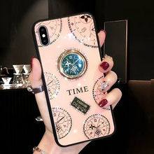 Luxe Vinger Ring I Telefoon Case Voor Iphone 11 Pro Max X Xs Max Xr Coque Bling Horloge Cover Case voor Iphone 6 S 6 S 7 8 Plus Funda(China)