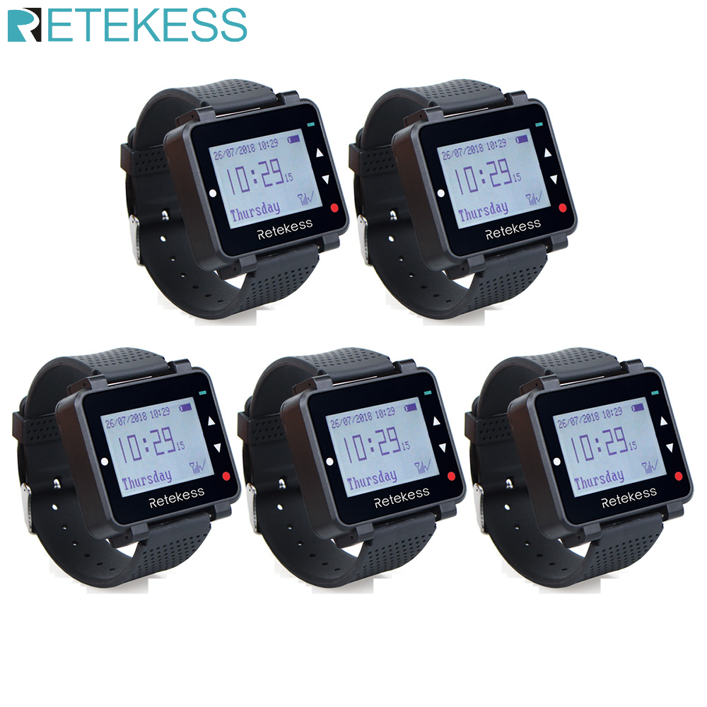 5Pcs Retekess T128 Multi-languag Watch Receiver Wireless Calling System Restaurant Pager 433.92MHz For Bar Cafe Customer Service