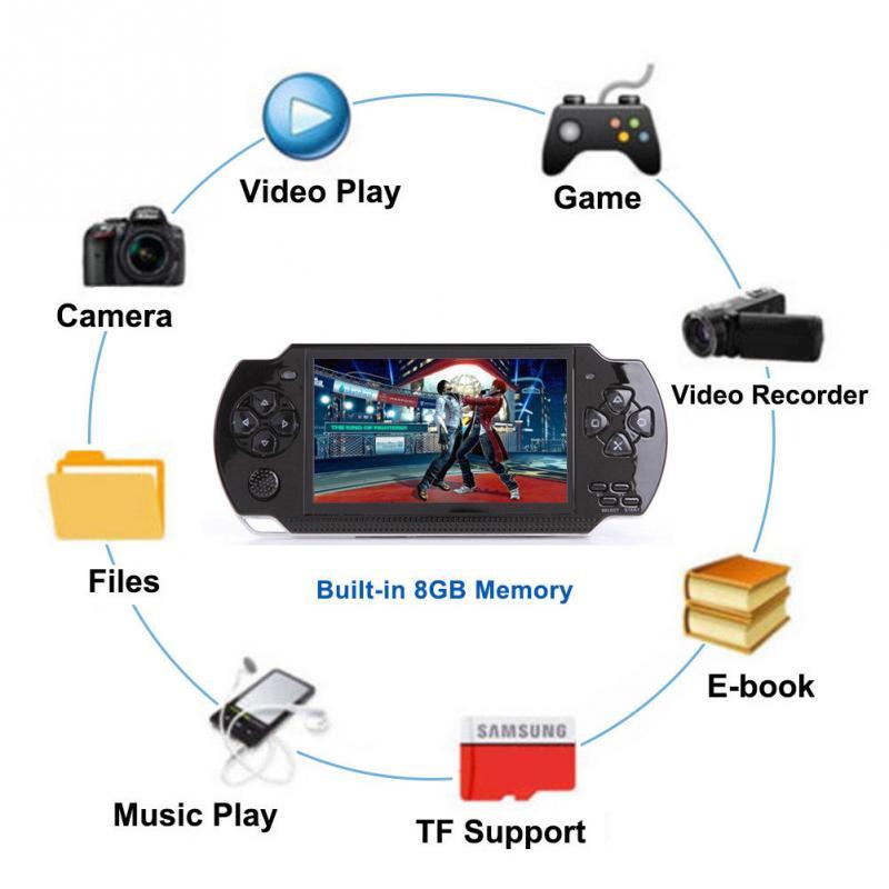 PSP כף יד קונסולת משחקי 4.3 אינץ תמיכת נגן MP5 MP4 MP3 עם מסך 8G Easy מבצע עבור משחק PSP, מצלמה, וידאו, ספר אלקטרוני (4)