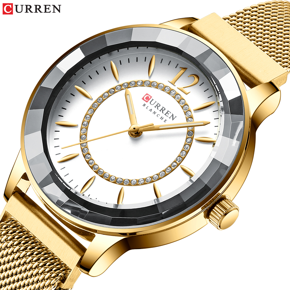 CURREN Luxury Brand Relogios Feminino Quartz Clock Ladies Watch Rhinestone Dial With Stainless Steel Band Classy Women Watches