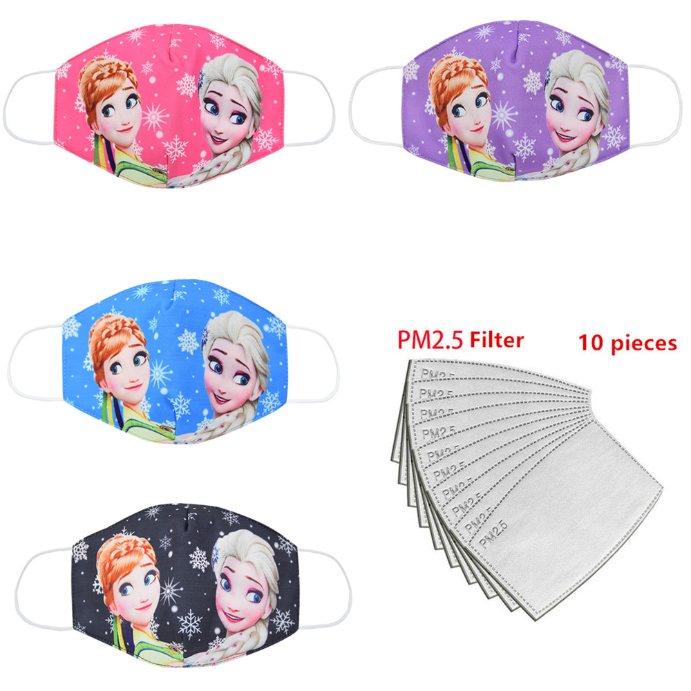 PM2.5 Adult Masks Dustproof, Breathable, Anti-haze Droplets Spread Anna Elsa Girl Children's Sunscreen Cartoon Masks Breathable
