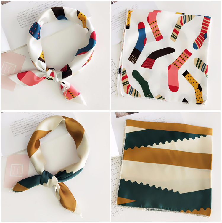 H94ba04506b504e5582c7c5cfb1e2e3faN - Square Scarf Hair Tie Band For Business Party Women Elegant Small Vintage Skinny Retro Head Neck Silk Satin Scarf