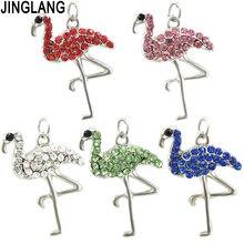JINGLANG çinko alaşım Flamingo şekli Charms kolye kolye yaratıcı altın gümüş bilezik el yapımı takı aksesuarları 30 adet