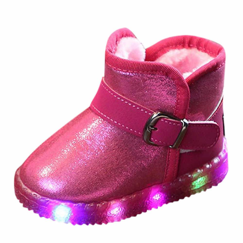 Kids Snowboots Schoenen Baby Meisjes Jongens Laarzen Led Light Up Lichtgevende Mode Sneakers Winter Warm Kinderen Sneeuw Boot Schoenen dropship