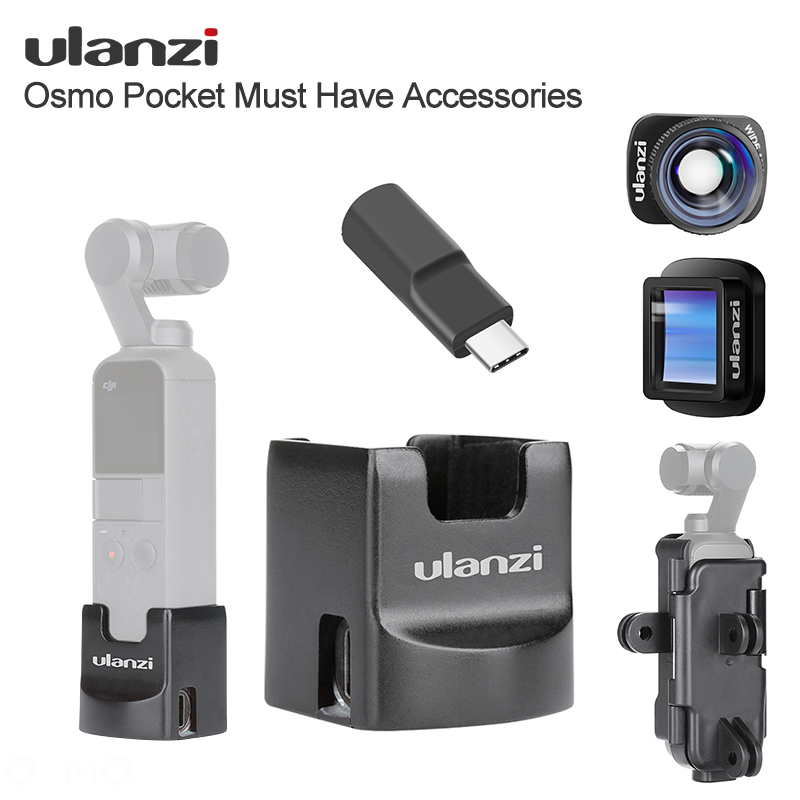 Ulanzi Osmo Pocket Accessories Gimbal Wifi Base Mount HD 4K 1.33X Anamorphic Wide Angle Lens Type-C Charging Adater Vlog Mount