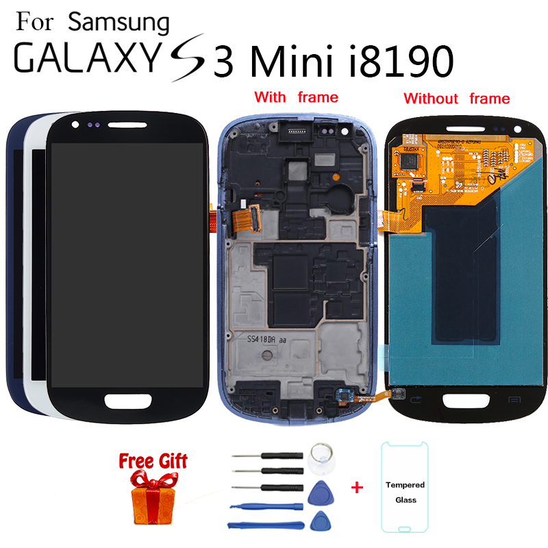 Super AMOLED For SAMSUNG GALAXY S3 Mini i8190 i8190N i8195 LCD Display Touch Screen Digitizer Assembly With Frame image