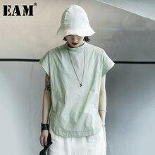 [EAM] Women Green Brief Big Size Vent Leisure T-shirt New Stand Collar Short Sleeve  Fashion Tide  Spring Summer 2021 1X016