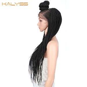 Image 5 - Kaylss 30 Inches 13x7 Braided Wigs Synthetic Lace Front Wig Updo Braided Wigs with Baby Hair for Black Women Cornrow Braided Wig