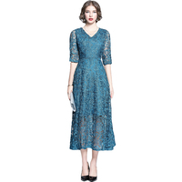 New Lace High end Dress Party Noble Women In Long Elegant Simple And Easy Soluble Dresses Peacock Blue 6818